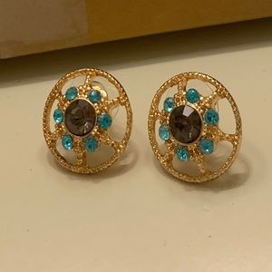 NEW Bebe Gold And Blue Summer Earrings
